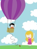 hot air balloon farewell cartoon