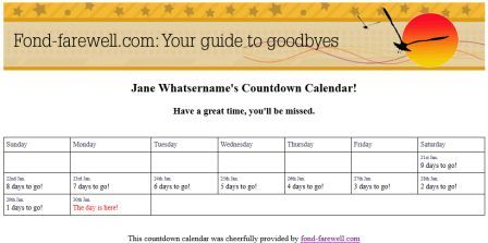 picture relating to Printable Countdown Calendar Template called Create A Farewell/Retirement Countdown Calendar In the direction of Print Out